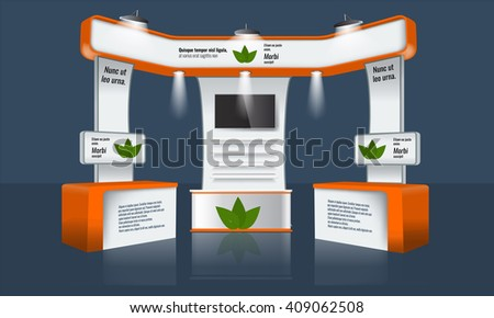 Illustrated unique creative exhibition stand display design with table, tv beam light and logo. Booth template. Corporate identity. Vector Trade booth Display Mock-up. Ready design elements. - stock vector