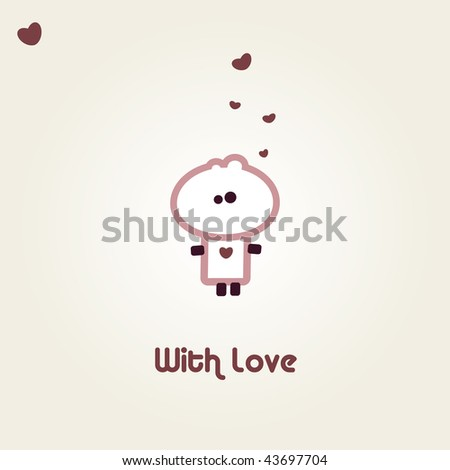 "Illustrated valentines card with ""Tiny Dude"" - stock vector"