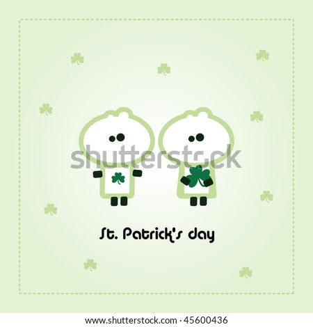 "Illustrated valentines card with ""Tiny Dude and Dudette"" dressed up for st. patricks day - stock vector"