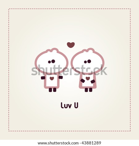 "Illustrated valentines card with ""Tiny Dude"" couple - stock vector"