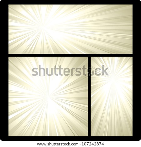 Illustrated vector background of golden rays of light in vertical, horizontal, and square orientations. - stock vector
