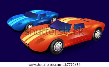 Illustrated vector graphic race cars orange and blue on dark background - stock vector