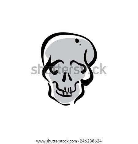 Illustrated vector hand drawn human skull icon.  - stock vector