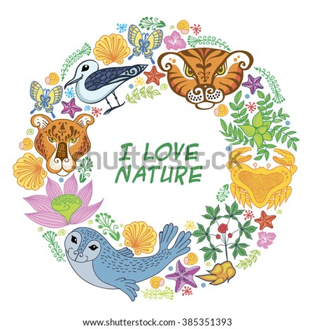 illustratin of a frame with animals and  flowers arranged as a shape of the wreath perfect for  invitations and  cards