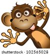 illustration a brown monkey on a white background - stock vector
