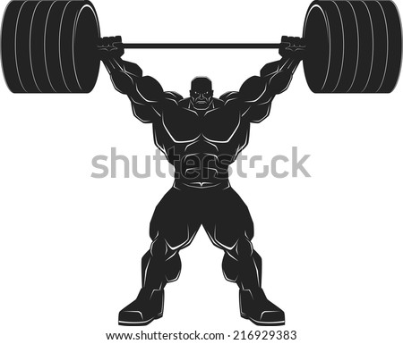 illustration a ferocious bodybuilder with a barbell vector silhouette