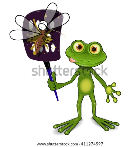 Illustration a green frog kills a mosquito