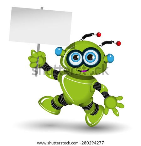 Illustration a green robot and white background