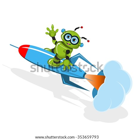 Illustration a Green robot on the rocket
