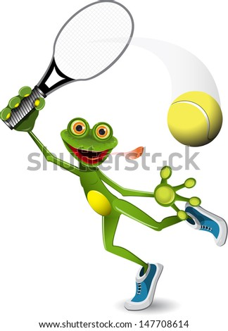 illustration a merry green frog tennis player - stock vector