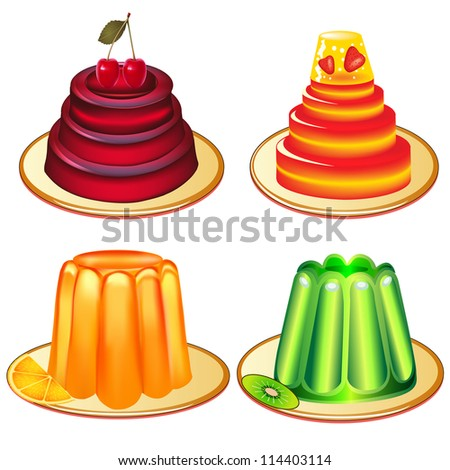 illustration a set of desserts of jelly on plates - stock vector