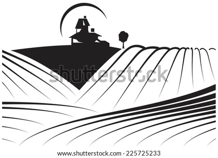 Illustration about farmlands with a building in the background. May be a winery and its vineyards. Illustration /sketch style modern and actual in black and white
