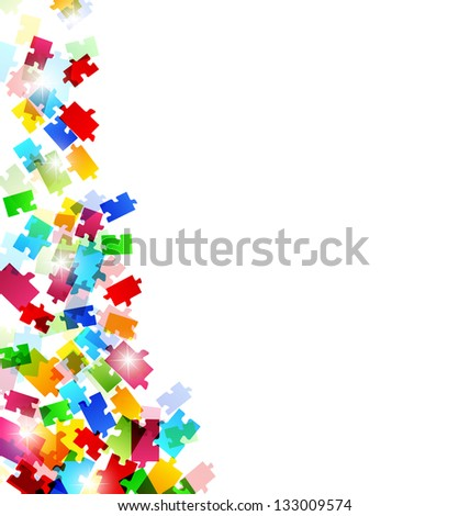 Illustration abstract background with set colorful puzzle pieces - vector - stock vector
