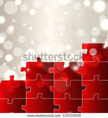 Illustration abstract background with set puzzle pieces - vector - stock vector