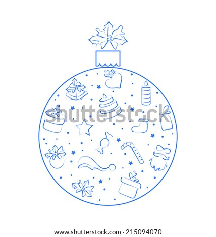 Illustration abstract ball made in xmas hand drawn elements, isolated on white background - vector - stock vector