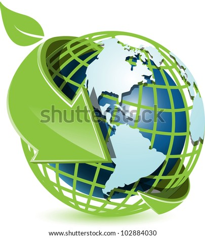 illustration abstract blue globe with green arrow