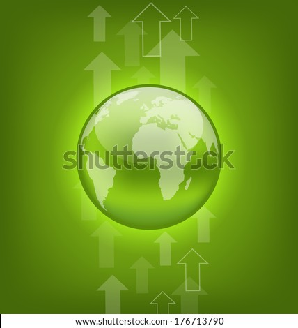 Illustration abstract hi-tech background with symbol Earth - vector - stock vector