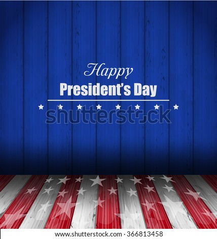 Illustration Abstract Wallpaper for Happy Presidents Day of USA. Template Celebration Card, Wooden Design - Vector - stock vector