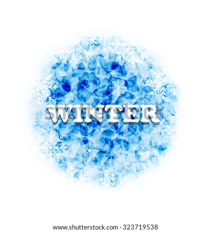 Illustration Abstract Winter Background with Snowflakes - Vector - stock vector