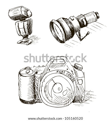 Illustration - accessories of the photographer - stock vector