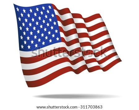 illustration american flag waving Isolated on White Background,vector