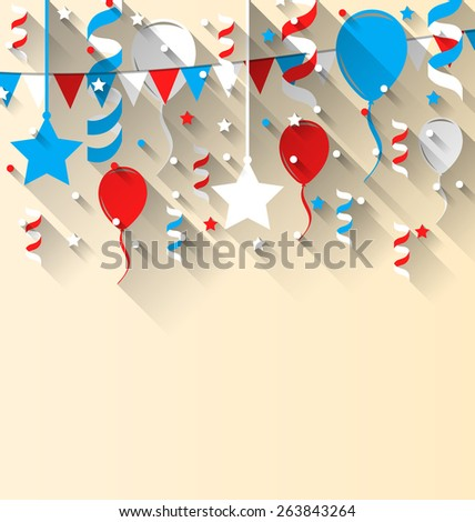 Illustration American patriotic background with balloons, streamer, stars and pennants, in US national colors. Wallpaper for Independence day, trendy flat style with long shadow style - vector - stock vector