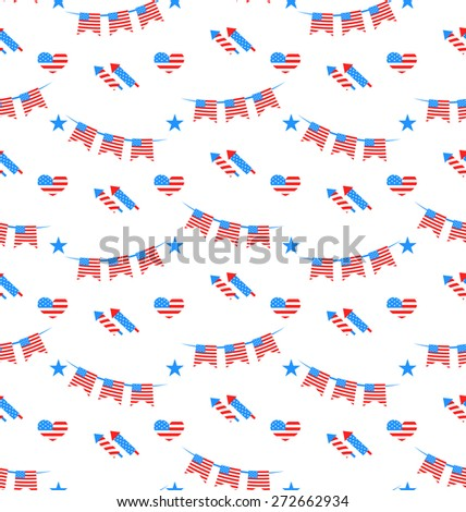 Illustration American Patriotic Seamless Pattern, US National Colors - Vector - stock vector