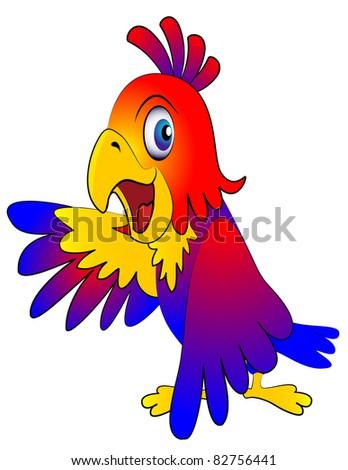 illustration amusing parrot reasons on white background - stock vector