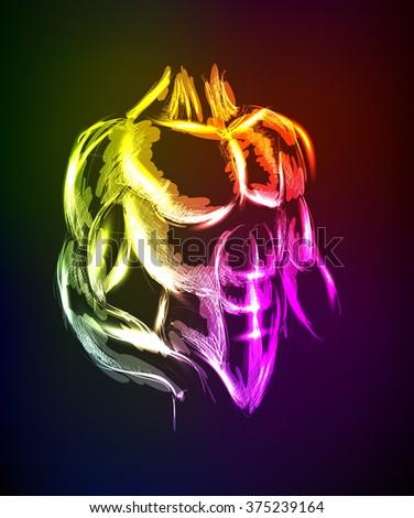 Illustration. Athlete in neon style. Neon sketch. - stock vector