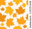 Illustration autumnal maple leaves, seamless background - vector - stock vector