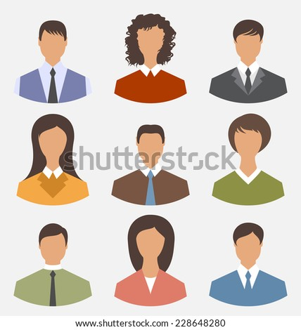 Illustration avatar set front portrait office employee business people for web design - vector - stock vector