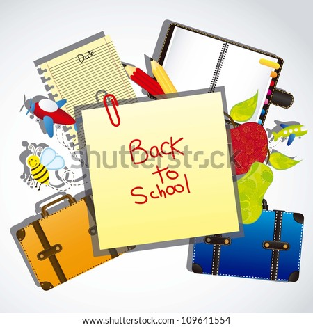 illustration back to school, with school elements, vector illustration - stock vector