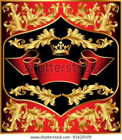 illustration background c gold(en) pattern by tape and crown - stock vector