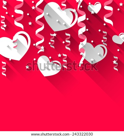 Illustration background for Valentines Day with paper hearts, streamer, stars, trendy flat style - vector - stock vector