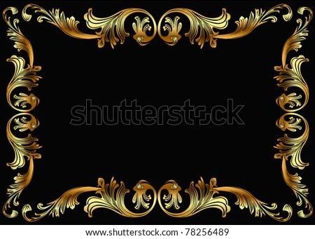 illustration background frame with vegetable gold(en) pattern - stock vector