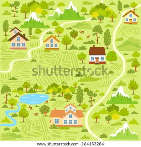 illustration background of a map village with houses - stock vector