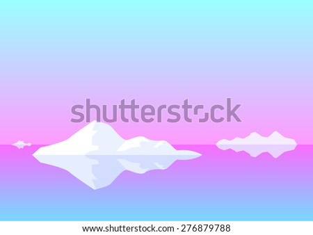 Illustration - Background: Panorama of north sunset in cold tones, cold water, ice blocks, icebergs - stock vector