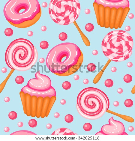 illustration background seamless sweet donuts candy cupcakes - stock vector