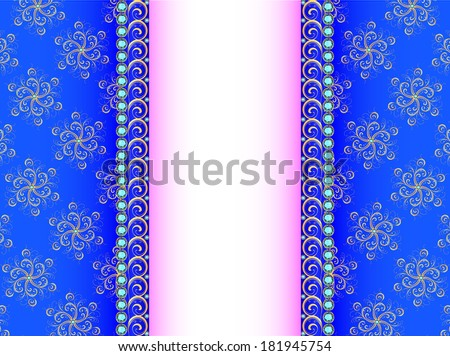 illustration background with a strip of precious stones and ornaments of gold - stock vector