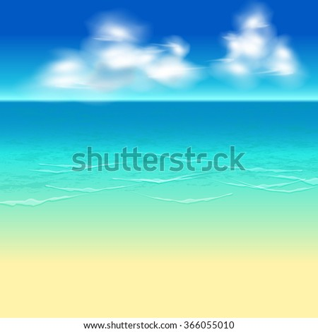 Illustration background with beach and sky