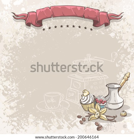 Illustration background with coffee, vanilla flower and cupcakes