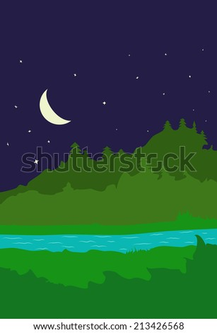 Illustration background with forest and river at night