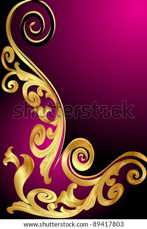 illustration background with gold(en) pattern and whorl - stock vector