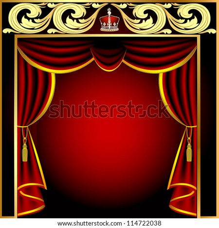 illustration background with theatrical curtain and gold(en) pattern - stock vector