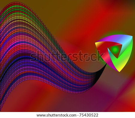 illustration background with wave from bar and triangle - stock vector