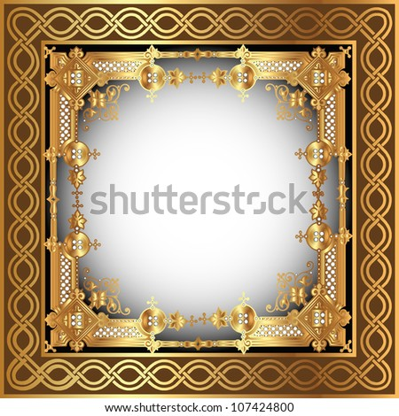 illustration  background with white frame with gold(en) pattern - stock vector