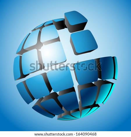Illustration ball on blue. Design elements. Vector. - stock vector