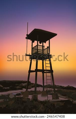illustration Beach guard tower at Mae Ramphueng beach ,Rayong Thailand - stock vector