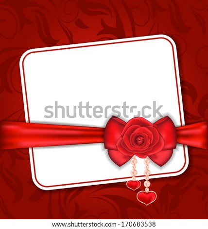 Illustration beautiful card for Valentine Day with red rose and bow - vector - stock vector