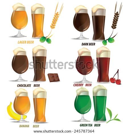 illustration beer vector on white - stock vector